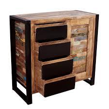 sit möbel kommode mit 4 schubladen aus altholz mit altmetall