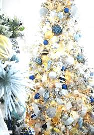 Gold Christmas Tree Beautiful Flocked Adorned With Navy Light Blue And Elegant Brown