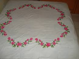 Bed Sheet Material by Painting Roses On White Bed Sheet Fabric Painting On Sarees