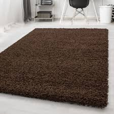 paket hochflor shaggy teppich wohnzimmerteppich einfarbig langflor rechteckig braun