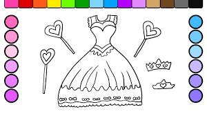 Learn Colors For Kids And Color Beautiful Princess Dress Coloring Page