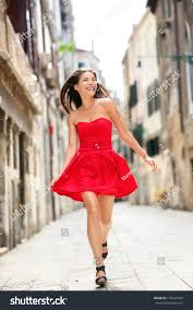 happy beautiful woman red summer dress stock photo 178722497