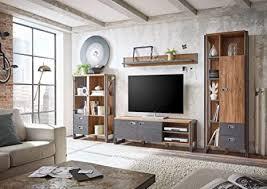 newfurn wohnwand anbauwand industrial wohnzimmerschrank