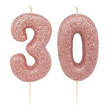 kuchen kerze 30 geburtstag rosegold glitzer world