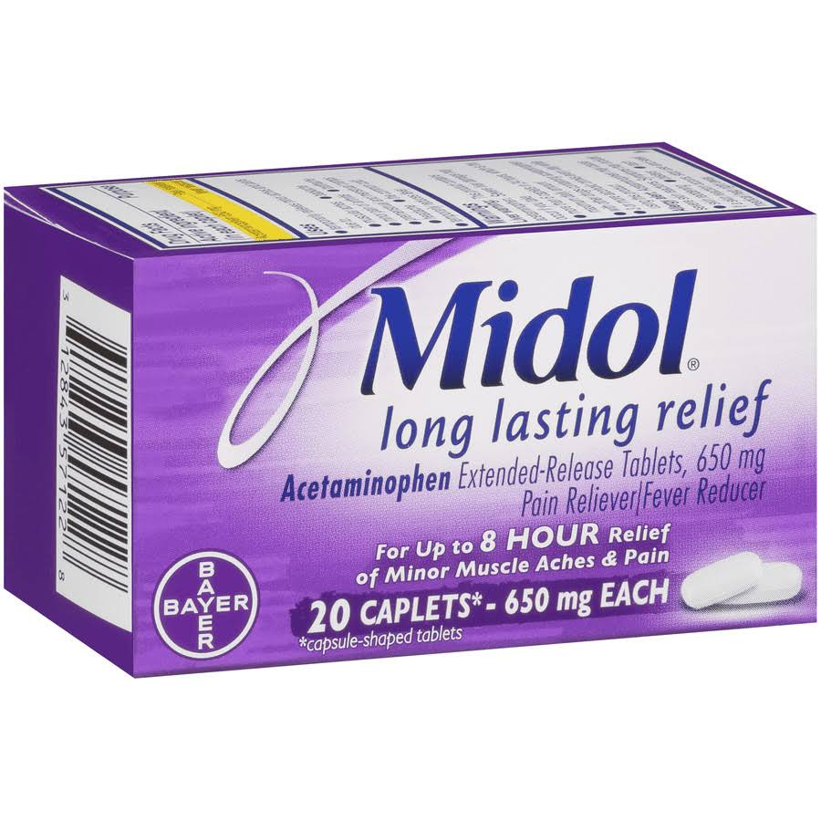 Midol Long Lasting Menstual Pain Relief - 650mg, 20 Caplets