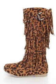 leopard print fringe tiered moccasin boots faux suede