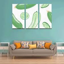 wyywcy 3 panel wände dekor grün gesundes essen gurke