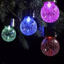 4pcs pack led color changing solar hanging light crackle glass