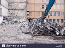 100 Demolition Truck Truck In Action Heap Of Rubble And A Demolished Building