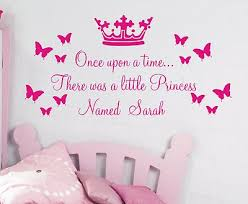 Once Girls Bedroom Wall Art Upon A Time There Was Little Princess Fearsome Named Sarah