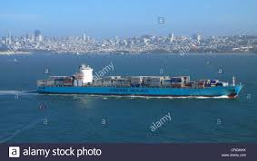 100 Shipping Containers San Francisco Large Cargo Ship With Freight Containers In Front Of Skyline Of