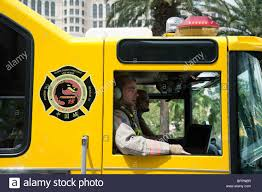 Firemen In A Clark County Firetruck On The Strip, Las Vegas Nevada ...