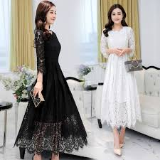 Free Shipping 2018 New Spring Summer Women Fashion Long Dresses Work Wear Lace Points Thin Slim