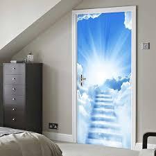 blauen himmel und weißen wolken treppen tür aufkleber 3d klassische landschaft tapete wohnzimmer schlafzimmer bad pvc hause aufkleber wand