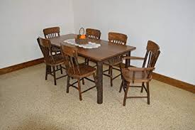 Rustic Hickory Oak 4 Farm Table With Arm ChairsWalnut Stain Amish Made USA