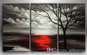 2018 Framed Black White Background Red TreeHand Psainted Large Modern Abstract Wall Art Oil Painting Canvas Multi Sizes 3p009 From Artheaven