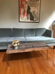 46x16 Reclaimed Rustic Living Room Furniture Barn Wood Coffee Table With Vintage Steel Hairpin Legs Review