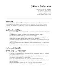 Personal Training Resume Sample Samples Manager Summary Examples