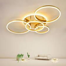 led deckenleuchte modern ring design aus aluminium in gold