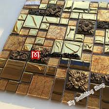 golden glass mosaic kitchen backsplash tiles rnmt101 3d resin