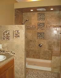 and grey bathroom design photos with pebble tile floors beige
