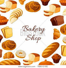 Sliced Wheat Bread Toasts Loaf Rye Brick Or Bagel Crunch Pie Cake Glazed Donut Cupcake Dessert Sweet Croissant And Chocolate