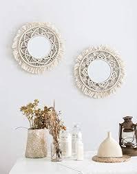 gereton böhmische hängende wand spiegel frame macrame fringe