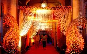 A Wedding Venue Lined With Lights