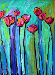 Abstract Poppies VII Commissioned Painting By Patty Baker