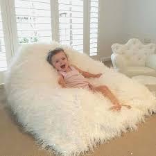 Big Fluffy Chair Unique Bean Bag Shaggy Fur Beanbag White