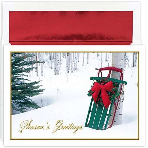 Masterpiece Studios Winter Sled Boxed Set of 16 Holiday Greeting Cards with Envelopes - Multi