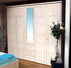 massivholz schlafzimmerschrank 5türig kleiderschrank kiefer weiß lasiert