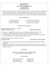 Medical Coder Resume Examples Coding Billing And Objective Samples