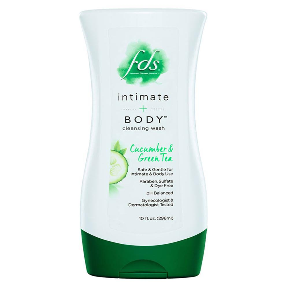FDS Intimate Body Cleansing Wash - Cucumber and Green Tea, 10oz
