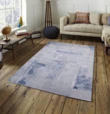 fez teppich grau blau weiß design abstrakt muster kurzflor