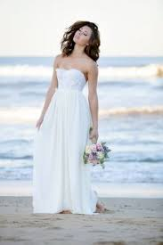 White Lace And Chiffon Strapless Floor Length Beach Wedding Dress Ruffled Rustic