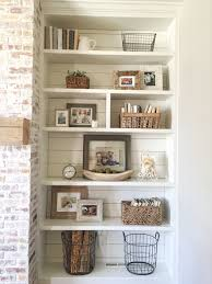 Built In Bookshelves Styling And Decor Shiplap Whitewash Brick Fireplace Rustic Mantle