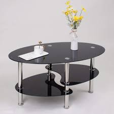 100 Living Room Table Modern Jeffordoutlet Oval Tempered Glass Coffee Black Stainless Easy Assemble Low 3 Tier Side
