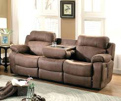16 leather reclining sofa with fold down table double recliner