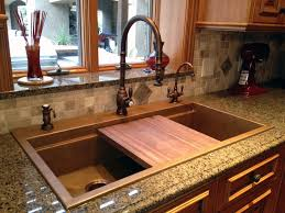 cooper kitchen sink with inlay for cutting block 50 50 over quartz