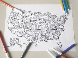 United States America Map Kids Adult Coloring Di LaSoffittaDiSte Davlin Publishing Adultcoloring