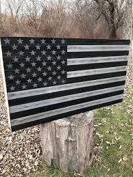 Patriotic Rustic American Flag US Black Wood
