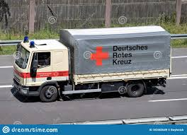 100 Iveco Truck German Red Cross Eurocargo On Motorway Editorial