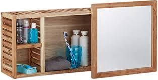 relaxdays wandregal mit spiegel walnuss verschiebbarer spiegel geöltes holz 80 cm breit besonders fürs badezimmer natur