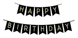 Amazon Black Happy Birthday Bunting Banner with Shimmering