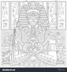 Stylized Ancient Pharaoh And Egyptian Symbols Hieroglyphs On The BackgroundFreehand Sketch For