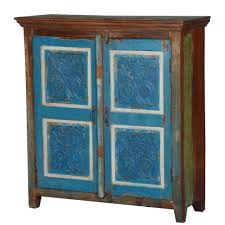 4 Blue Squares Rustic Reclaimed Wood Hall Console Cabinet
