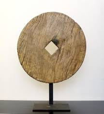 Giant Reclaimed Wooden Disc With Display Stand For Exhibit As A Sculpture