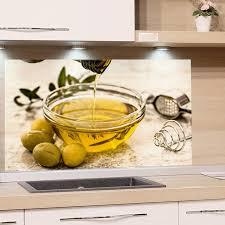 grazdesign küchenrückwand glas bild spritzschutz küche druck hinter glas bild motiv olivenöl kunstdruck gasherd küchenbilder glasscheibe 80x60cm