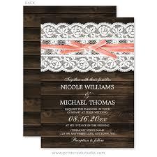 Rustic Barn Wood Lace Coral Ribbon Wedding Invitations